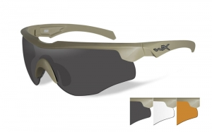 Okulary WileyX Rogue COMM Grey / Clear / Rust Lens / Tan Frame 2862